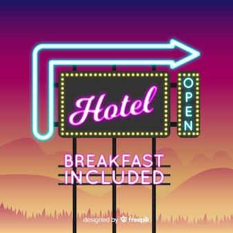 Realistische hotel leuchtreklame hintergrund