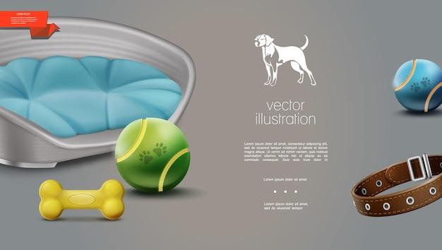 Realistische hundezubehörschablone mit bällenknochenleinen-haustierbett mit kissen auf grau