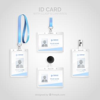 Realistische id-karte mit schließe und lanyards