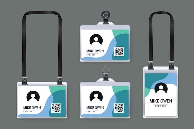 Realistische id-karten-briefpapiersammlung