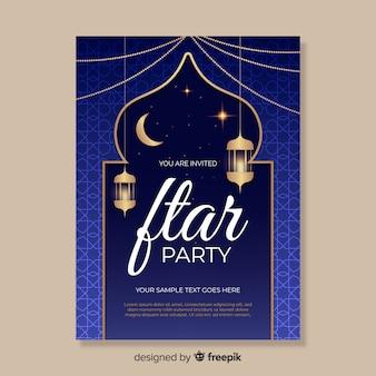 Realistische iftar-einladungsvorlage