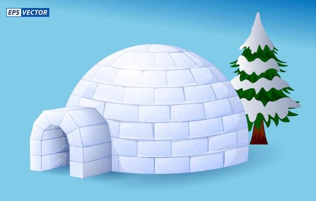 Realistische iglu-kuppel oder iglu-eishaus-cartoon-stil oder schnee-eis-haus der eskimos