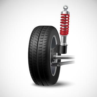 Realistische ikone der autoaufhängung mit radreifen und stoßdämpfer