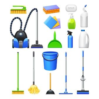 Realistische ikonensammlung der reinigungsausrüstung und des zubehörs mit staubsaugerbürsten