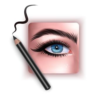 Realistische illustration der augenanwendung eyeliner nahaufnahme frau wendet eyeliner an