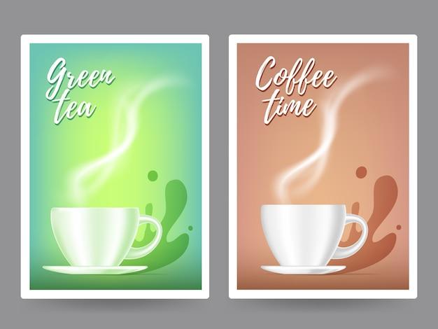 Realistische illustration der kaffeetasse der weißen farbe mit dampf. 3d-design