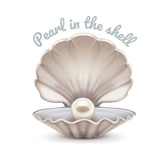 Realistische illustration der offenen muschel mit der leuchtenden perle innen lokalisiert auf weißem hintergrund. vorlage mit platz für text.