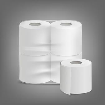 Realistische illustration der unbeschrifteten verpackung des toilettenpapiers lokalisiert.