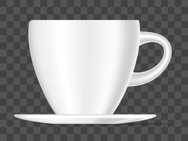 Realistische illustration der weißen farbkaffeetasse 3d lokalisiert