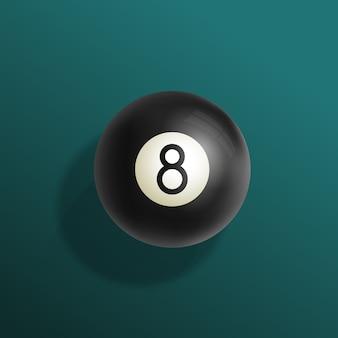 Realistische illustration des billard-achtballs mit grüner billardtischdecke, schwarzer kugel und weichen schatten.