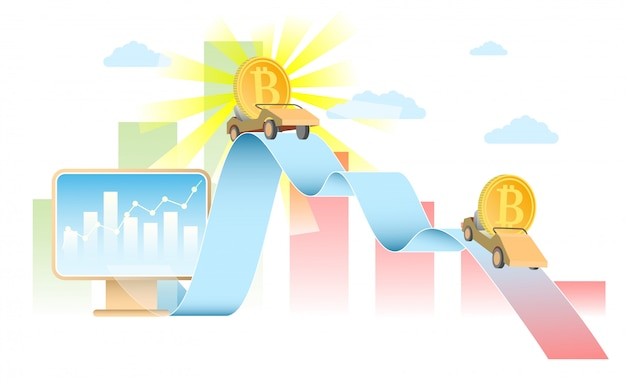 Realistische illustration des bitcoin-ratenkonzept-vektors