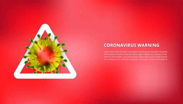 Realistische illustration des coronavirus mit warnzeichen