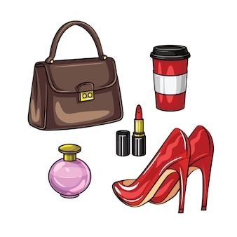 Realistische illustration des farbvektors von garderobeneinzelteilen der frauen. ein satz zubehör der frauen lokalisiert. handtasche, parfüm, lippenstift, eine tasse kaffee und rote lackschuhe