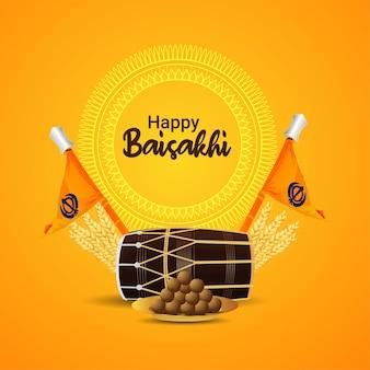 Realistische illustration des glücklichen vaisakhi-hintergrunds mit dhol- und sikh-flagge und süß