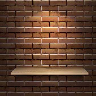 Realistische illustration des leeren hölzernen regals lokalisiert auf backsteinmauerhintergrund