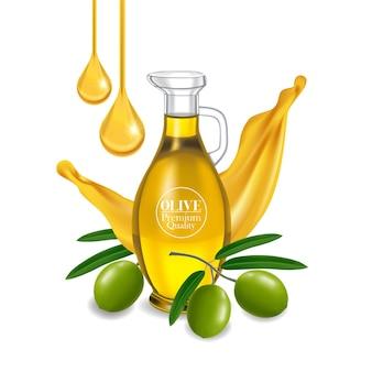 Realistische illustration des olivenöls