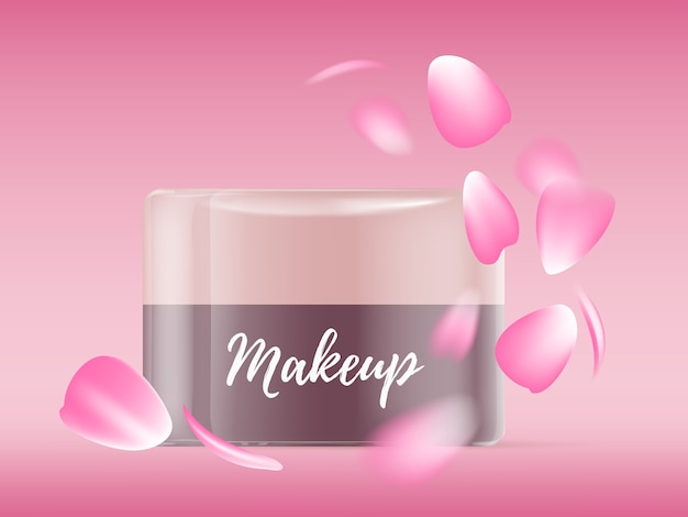 Realistische illustration des schönen leuchtenden gesichtscremeglas mit rosa rosenblättern und text