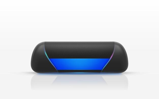 Realistische illustration des schwarzen tragbaren lautsprechers lokalisiert auf weißem hintergrund.