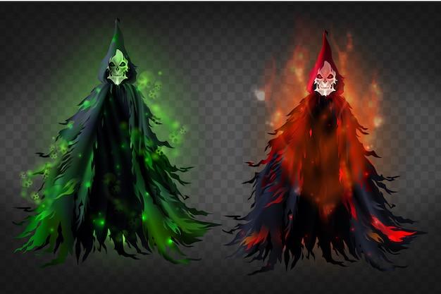 Realistische illustration des vektors 3d des todes - schrecklicher reaper im schwarzen dud