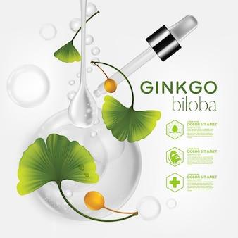Realistische illustration kosmetik mit inhaltsstoffen ginkgo biloba hautpflege kosmetik