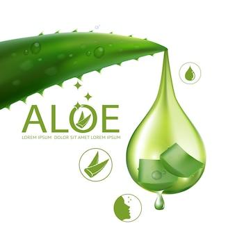 Realistische illustration kosmetik mit zutaten aloe vera hautpflege kosmetik