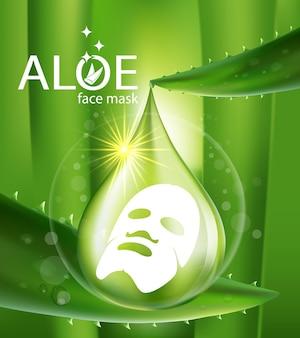 Realistische illustration kosmetik mit zutaten aloe vera hautpflege kosmetik Premium Vektoren