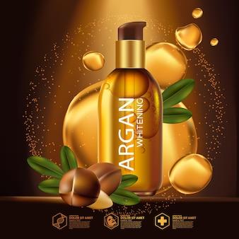 Realistische illustration kosmetik mit zutaten arganöl hautpflege kosmetik