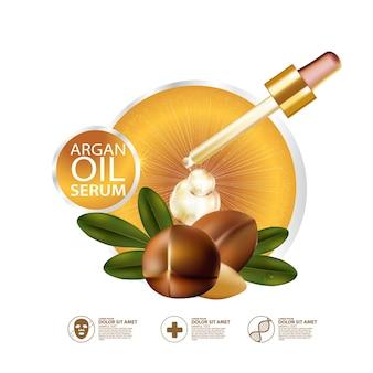 Realistische illustration kosmetik mit zutaten arganöl hautpflege kosmetik Premium Vektoren