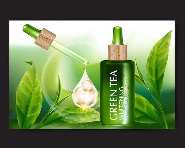 Realistische illustration kosmetik mit zutaten grüntee hautpflege kosmetik