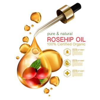 Realistische illustration kosmetik mit zutaten hagebuttenöl hautpflege kosmetik
