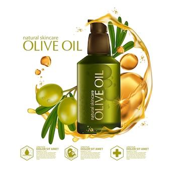 Realistische illustration kosmetik mit zutaten olivenöl hautpflege kosmetik