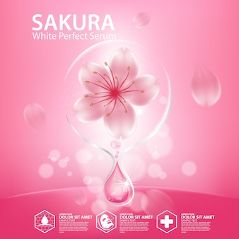 Realistische illustration kosmetik mit zutaten sakura cherry blossoms hautpflege kosmetik