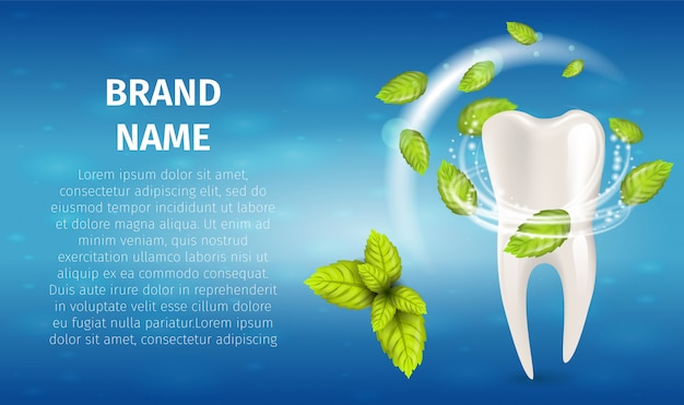 Realistische illustration natural mint toothpaste