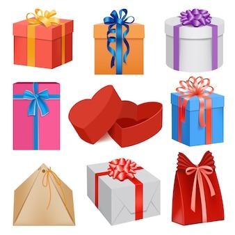 Realistische illustration von geschenkboxmodellen für web
