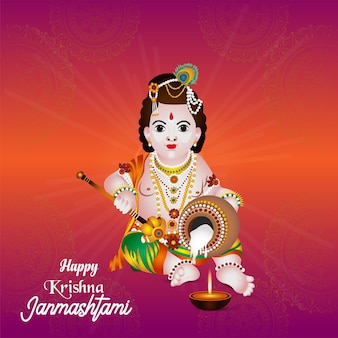 Realistische illustration von lord krishana für glückliche janmashtami-grußkarte