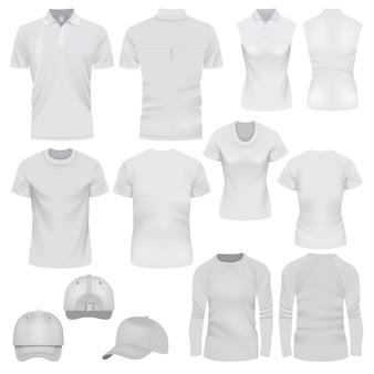 Realistische illustration von t-shirt-kappenmodellen für web