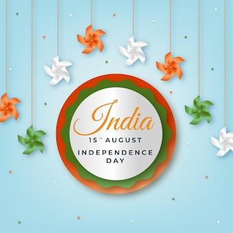Realistische illustration zum unabhängigkeitstag indiens Premium Vektoren