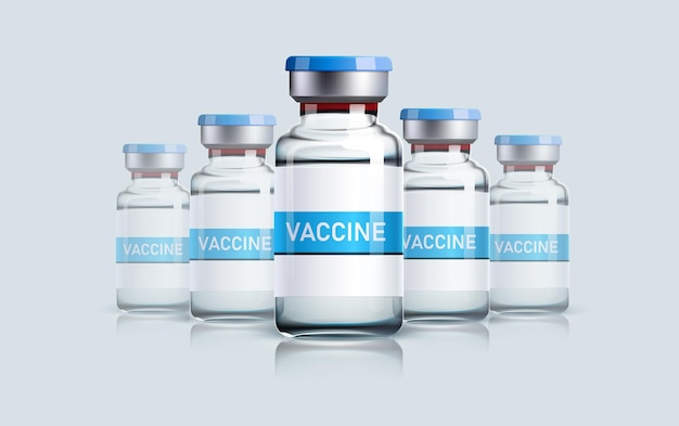 Realistische impffläschchen für intramuskuläre injektionen isoliert auf grauem hintergrund