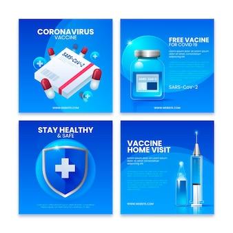 Realistische impfstoff-instagram-post-sammlung