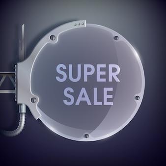 Realistische industrielle glaslampenschablone mit super sale-beschriftung für rabatte und angebote für ihr unternehmen.