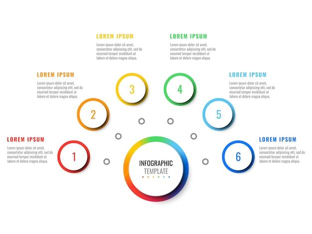 Realistische infografik des geschäfts 3d mit sechs schritten. moderne infografik-vorlage mit runden elementen für broschüre, diagramm, workflow, zeitachse, webdesign.