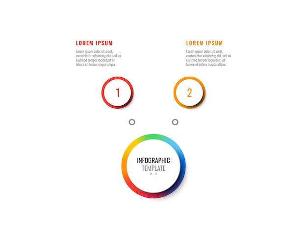Realistische infografik des geschäfts 3d mit zwei schritten. moderne infografik-vorlage mit runden elementen für broschüre, diagramm, workflow, zeitachse, webdesign. eps10