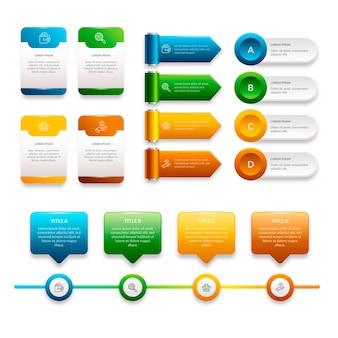 Realistische infographik element pack