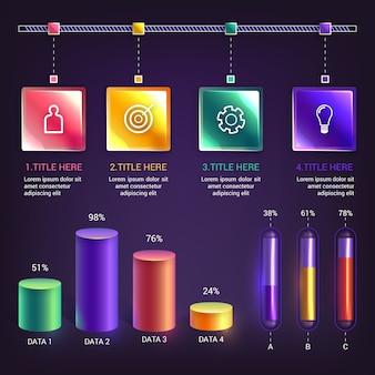 Realistische infographik elemente pack