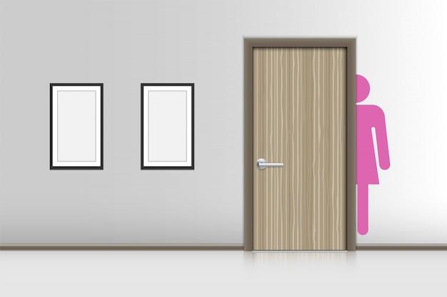 Realistische innenräume dekorativ von frauenruhezimmer, wc-hygienekonzept