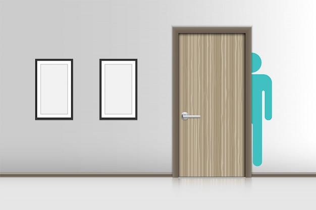 Realistische innenräume dekorativ von männerruhezimmer, wc-hygienekonzept