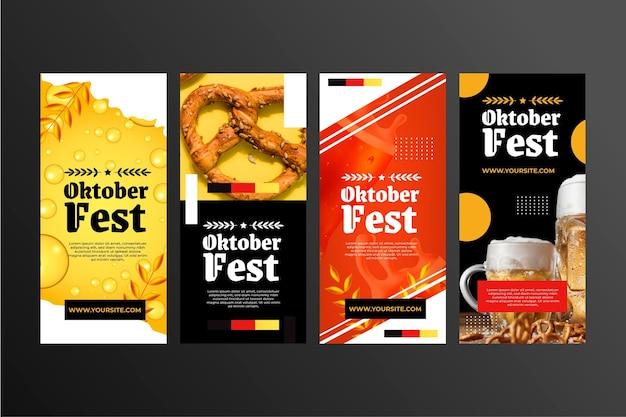 Realistische instagram-geschichtensammlung zum oktoberfest