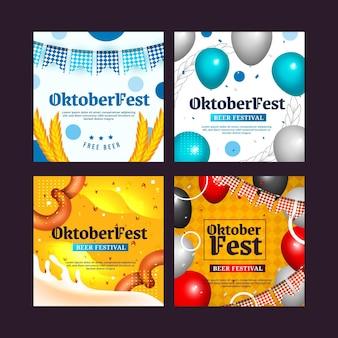 Realistische instagram-posts-sammlung für das oktoberfest