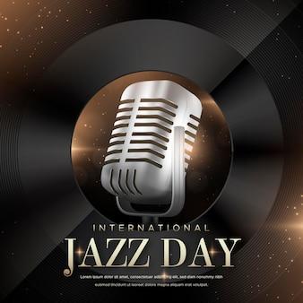 Realistische internationale jazz-tagesillustration