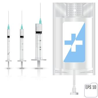 Realistische intravenöse flüssigkeit und spritzen. vektor-illustration